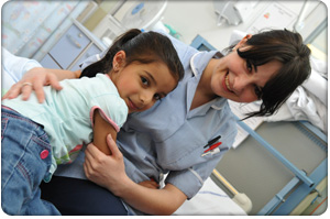 Young girl with nurse