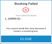 Booking failed