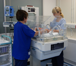Nurses caring for premature baby