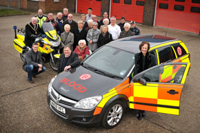 King's Lynn Hospital's League of Friends officially handover a new Emergency Blood car to SERV Norfolk. Front left to right - Borough Mayor Geoffrey Wareham, Craig Darwin (Adrian Flux). Acting SERV Norfolk chairman David Parish and League of Friends President, Lady Coke